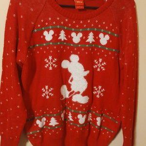 Disney Medium Red Mickey Mouse Christmas Sweater L